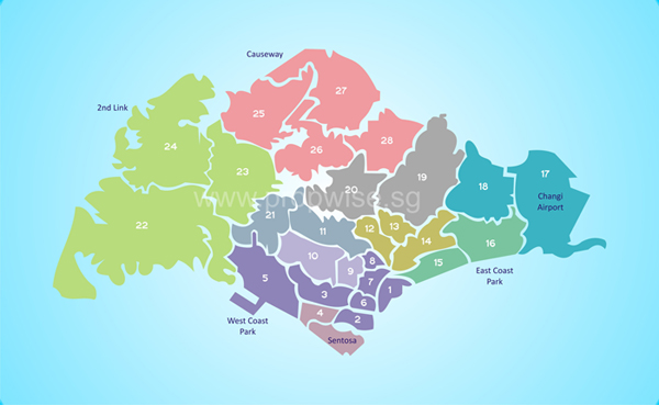 Singapore Property Beginner's Guide Part 2 Districts And Planning: Singapore District Map At Infoasik.co